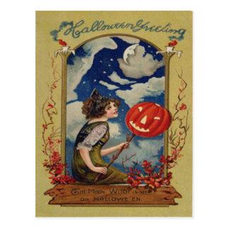 Pumpkin Jack O Lantern Witch Moon Postcard
