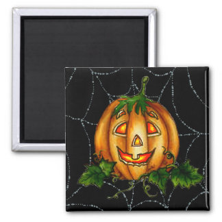 PUMPKIN JACK & SPIDERWEB by SHARON SHARPE Square Magnet