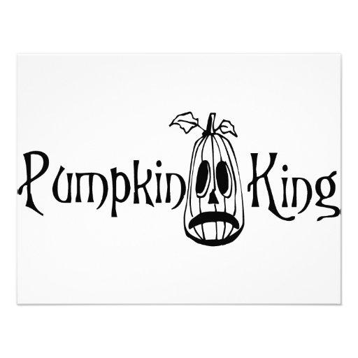 Pumpkin King B&W Personalized Invitations