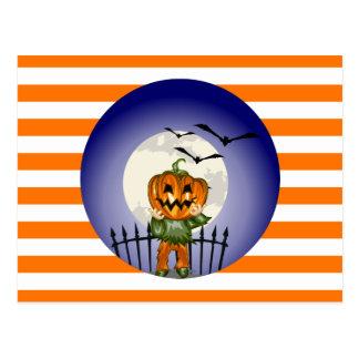 Pumpkin Man Full Moon and Orange and White Stripes Postcard