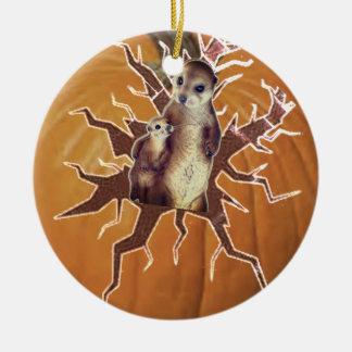Pumpkin Mother Meerkat and Baby Ceramic Ornament