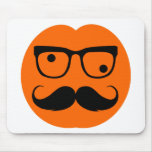 Pumpkin moustache mouse pad