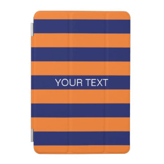 Pumpkin Navy Horiz Preppy Stripe #2 Name Monogram iPad Mini Cover