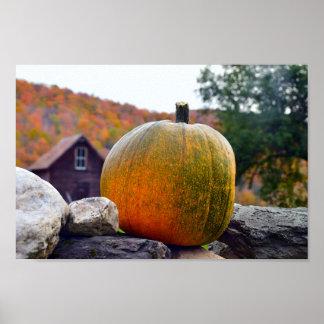 Pumpkin on Rock Wall in Vermont, Autumn Poster