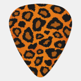Pumpkin Orange And Black Leopard Pattern Plectrum