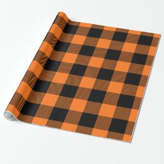 Pumpkin Orange Black Huge Buffalo Plaid Tartan Wrapping Paper
