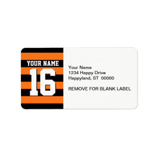 Pumpkin Orange Black Team Jersey Preppy Stripe Address Label