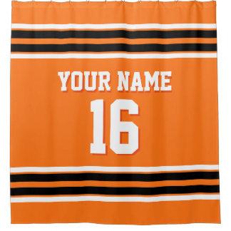 Pumpkin Orange Black White Stripes Sports Jersey Shower Curtain