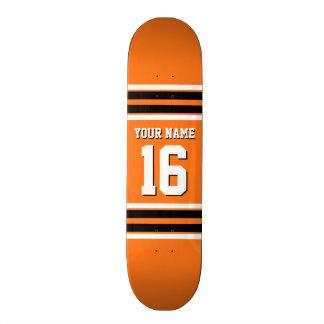 Pumpkin Orange Blk Team Jersey Custom Number Name 20.6 Cm Skateboard Deck