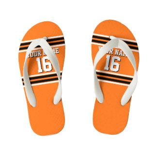 Pumpkin Orange Blk Team Jersey Custom Number Name Kid's Thongs