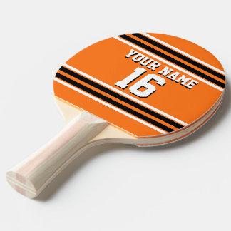 Pumpkin Orange Blk Team Jersey Custom Number Name Ping Pong Paddle