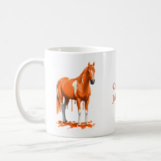 Pumpkin Orange Dripping Wet Paint Horse Coffee Mug