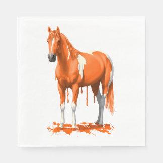 Pumpkin Orange Dripping Wet Paint Horse Paper Napkin