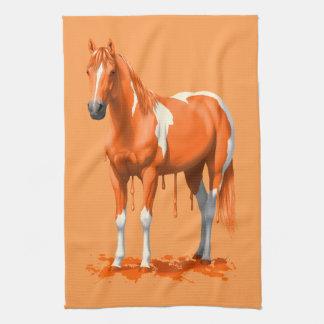 Pumpkin Orange Dripping Wet Paint Horse Tea Towel