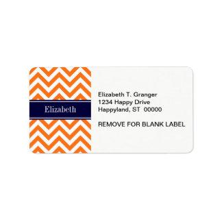 Pumpkin Orange Lg Chevron Navy Name Monogram Address Label