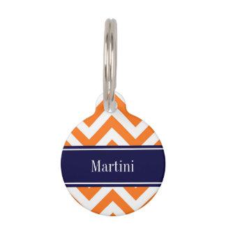 Pumpkin Orange Lg Chevron Navy Name Monogram Pet ID Tag