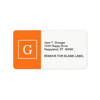 Pumpkin Orange White Framed Initial Monogram Address Label