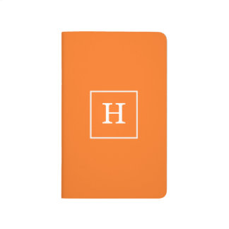 Pumpkin Orange White Framed Initial Monogram Journals