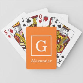 Pumpkin Orange White Framed Initial Monogram Playing Cards