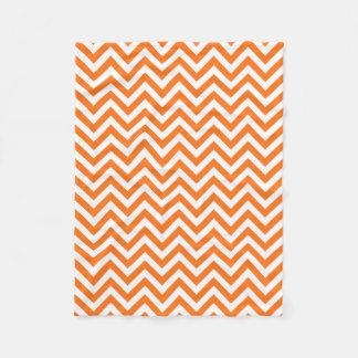 Pumpkin Orange, White Large Chevron ZigZag Pattern Fleece Blanket