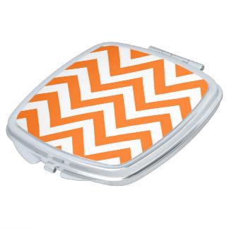 Pumpkin Orange, White Large Chevron ZigZag Pattern Makeup Mirrors