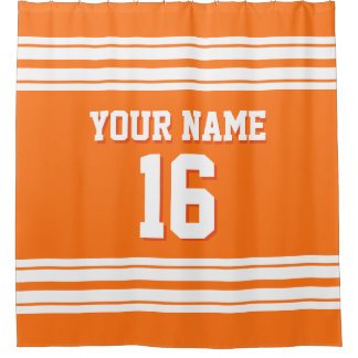 Pumpkin Orange with White Stripes Sports Jersey Shower Curtain