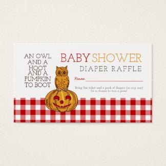 Pumpkin Owl & Gingham Baby Diaper Raffle Ticket