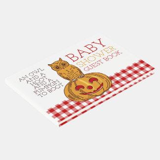 Pumpkin Owl & Gingham Baby Shower Guest Book