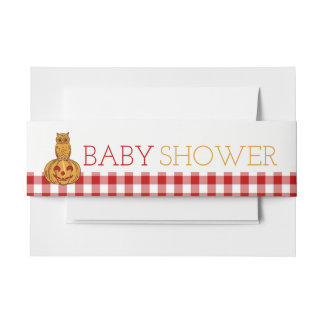 Pumpkin Owl & Gingham Baby Shower Invitation Belly Band
