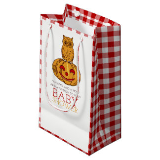 Pumpkin Owl & Gingham Baby Shower Small Gift Bag