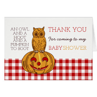 Pumpkin Owl & Gingham Baby Shower Thank You Card