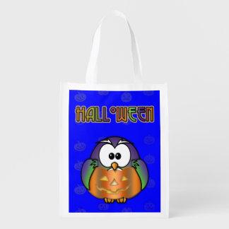pumpkin owl grocery bag