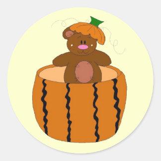 Pumpkin Patch Bear Round Sticker