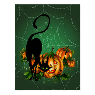 PUMPKIN PATCH, BLACK CAT & WEB by SHARON SHARPE Postcard