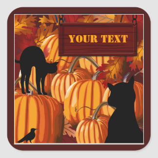 Pumpkin Patch Cats Halloween Custom Stickers