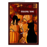 Pumpkin Patch Cats Thank You Note Card