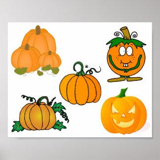 Pumpkin Patch Fall Vines Autumn Faces Beautiful Poster