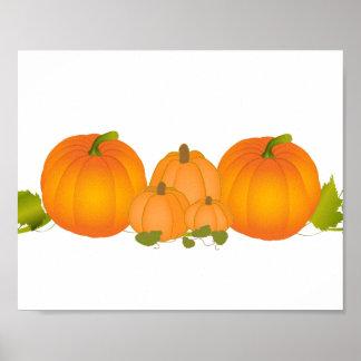 Pumpkin Patch Fall Vines Autumn Night Beautiful Posters