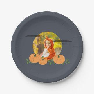 Pumpkin Patch Halloween Photo Paper Plate