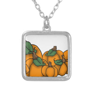 pumpkin patch silver plated necklace
