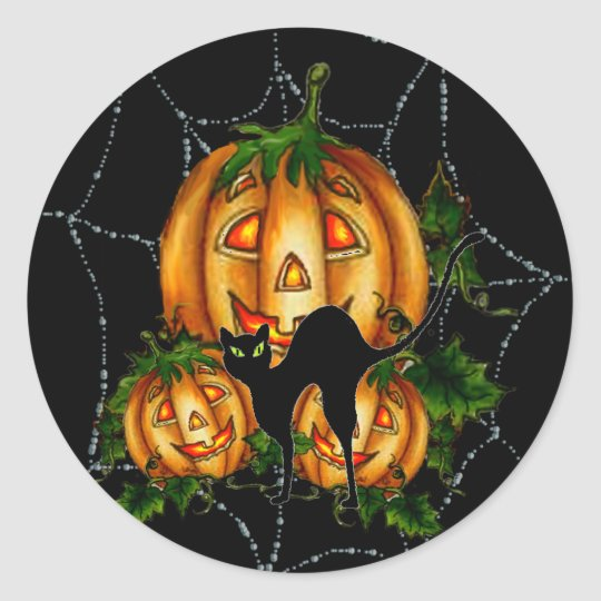 PUMPKIN PATCH & SPIDERWEB by SHARON SHARPE Classic Round Sticker