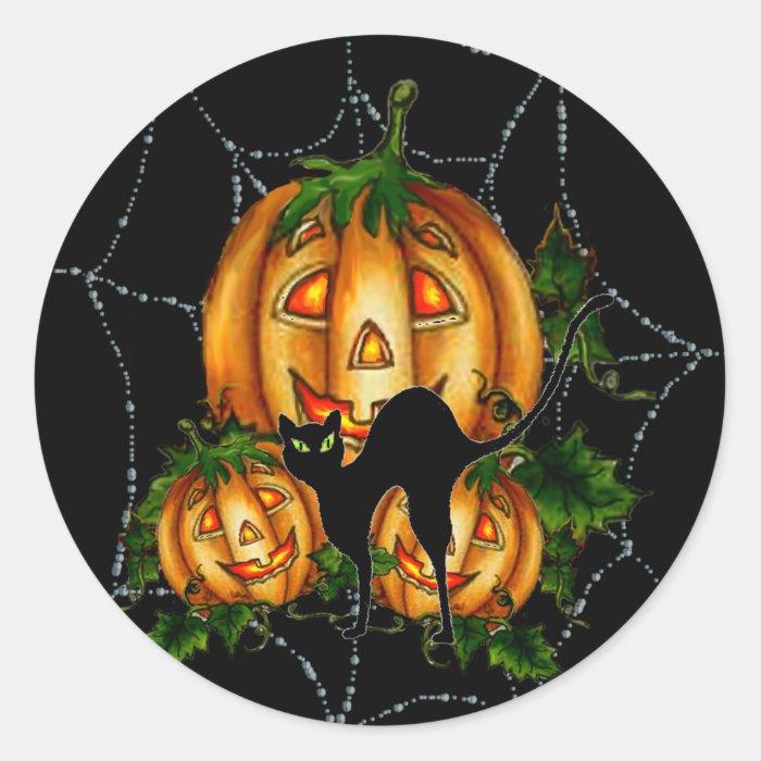 PUMPKIN PATCH & SPIDERWEB by SHARON SHARPE Round Sticker