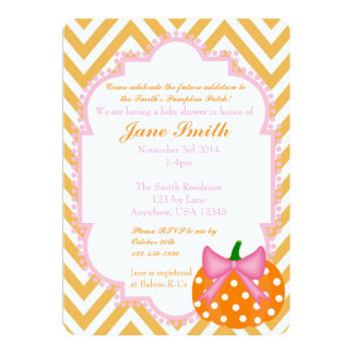 Pumpkin Patch Themed Baby Girl Shower Invitation