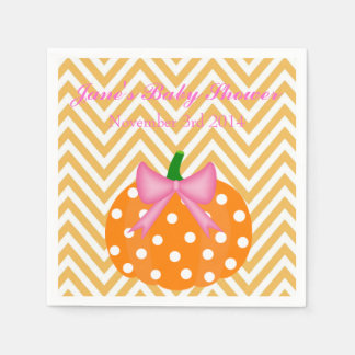 Pumpkin Patch Themed Girl Baby Shower Paper Napkin