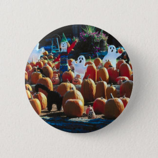 Pumpkin Patch with Ghosts - Round Button