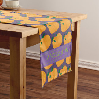 Pumpkin Pattern on Dark Purple Personalized Short Table Runner