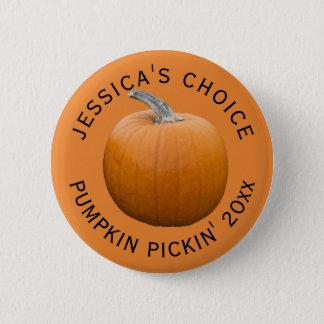 Pumpkin Pickin' Personalized 6 Cm Round Badge