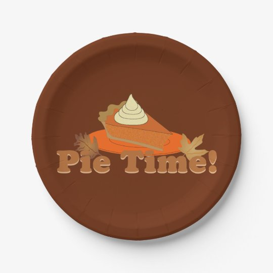 Pumpkin Pie Time Thanksgiving Paper Plate