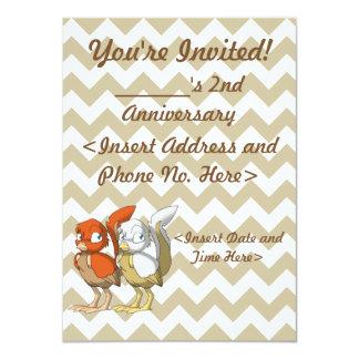 Pumpkin Pie/White and Gold Reptilian Bird Joint 11 Cm X 16 Cm Invitation Card