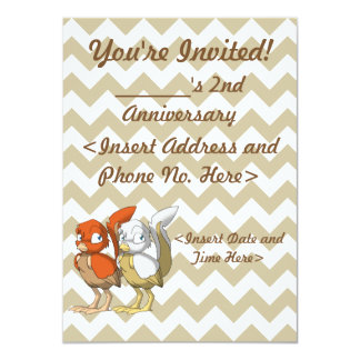 Pumpkin Pie/White and Gold Reptilian Bird Joint 4.5x6.25 Paper Invitation Card